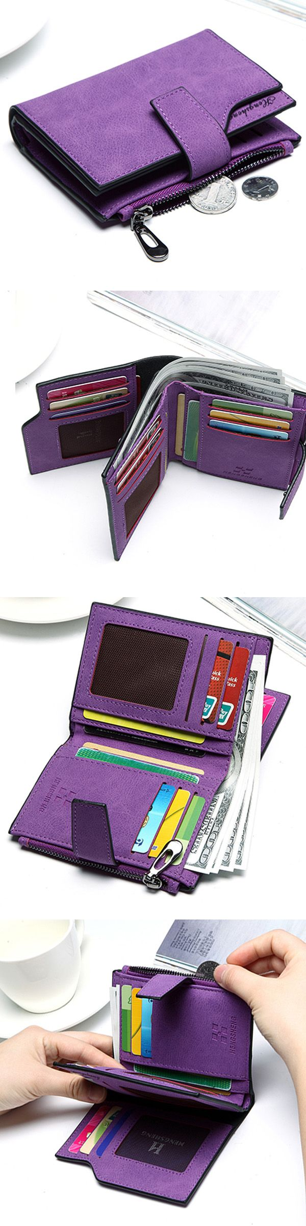 US$8.78 Woman PU Candy Color Short Style Card Bag _Change Bag_ Girls Elegant Wallet Purse_Short Purple Wallets For Female