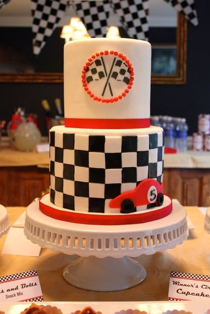 Race Car Birthday Party cake!  See more party ideas at CatchMyParty.com!