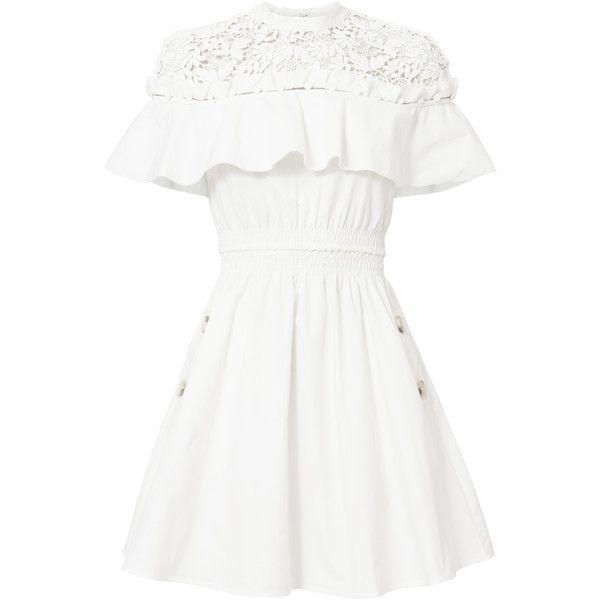 Hudson Yoke White Mini Dress (£270) ❤ liked on Polyvore featuring dresses, white, short-sleeve dresses, short sleeve mini dress, sleeveless dress, white day dress and white mini dress
