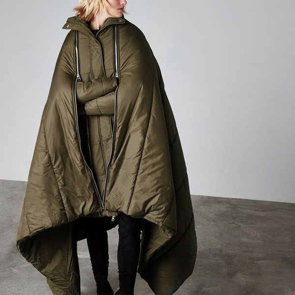 River Island Khaki Ashish sleeping bag puffer coat ($360) ❤ liked on Polyvore featuring outerwear, coats, coats / jackets, khaki, women, puffer coat, brown puffer coat, zipper coat, brown coat and river island coats