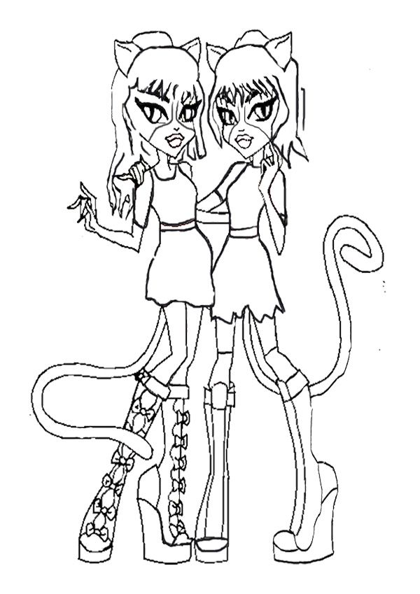 Twin Purrsephone And Meowlody Coloring Page Colouring PagesMonster HighAdult