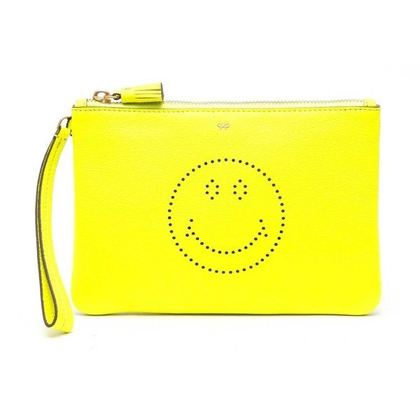 Anya Hindmarch 'Smiley' Embroidered Pochette (2.120 HRK) ❤ liked on Polyvore featuring bags, handbags, clutches, multicolor, anya hindmarch purse, multi color purse, colorful handbags, anya hindmarch handbags and tri color handbags