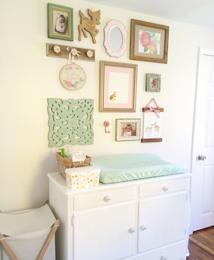 A mint, pink and gold nursery. It is shabby chic, vintage, elegant