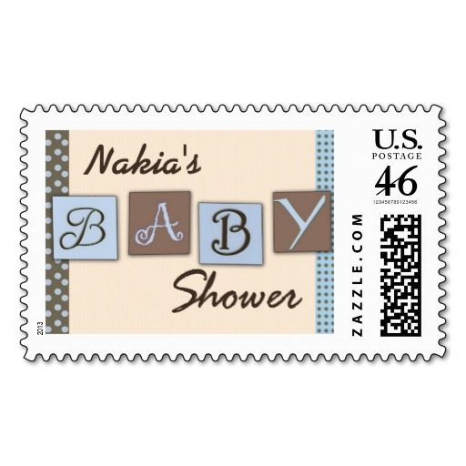 Light Blue And Brown USPS Baby Shower Stamps