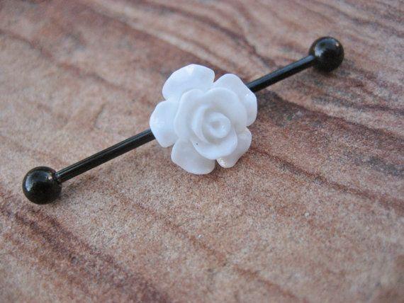 Industrial Barbell Piercing White Black Rose by Azeetadesigns