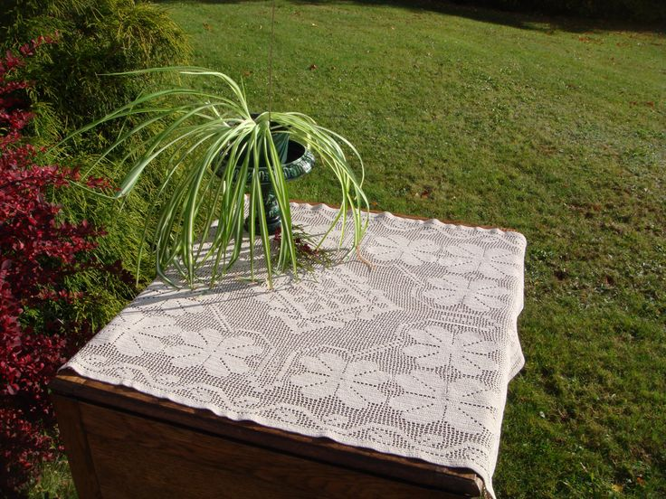 Vintage Filet Lace Tablecloth, Handmade Crochet Filet Lace in Tan Cotton with Large Flower Design and Leaf Border. Rectangle by MyBlueHummingbird on Etsy