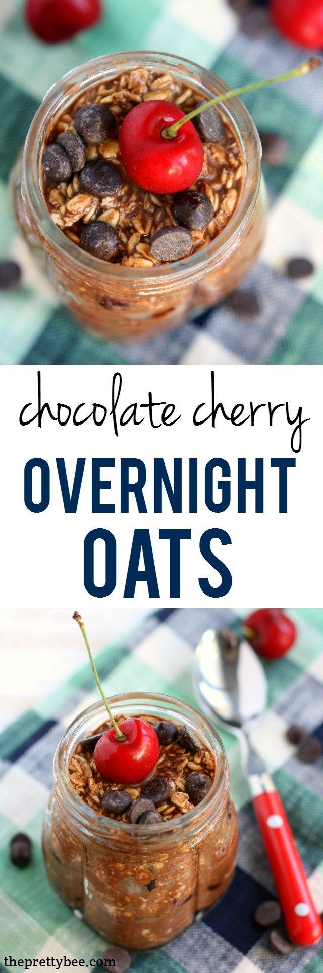 An easy and delicious recipe for chocolate cherry overnight oats. You'll love waking up for this breakfast!