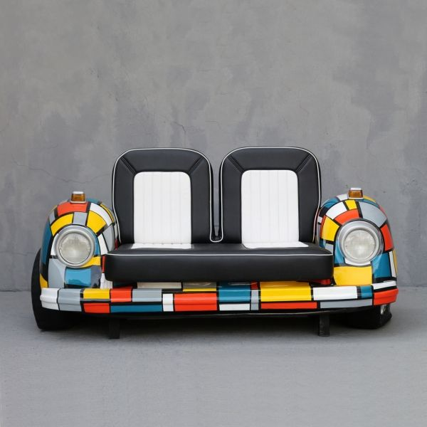 Mondriaan car sofa inquire at: dominique@yabdesign.com  Material	Fiberglass Length (cm)	197 Width (cm)	123 Height (cm)	117