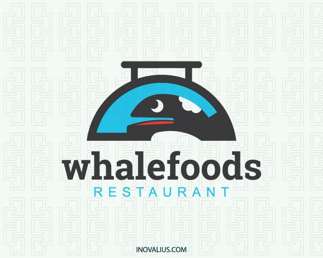 Whale Foods is a logo in the shape of a tray together with a whale with the colors blue, black and red.(whale, tray, food, restaurant, foods, animal, sea, fish, fast food, mascot, orca whale, food restaurants, food industry, whale fish, scientists, logo for sale, logo design, lototipo, logotype).