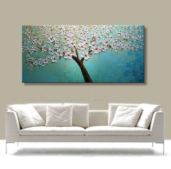 Original Modern Palette Knife Oil Tree Painting Impasto by Nizamas, $358.00