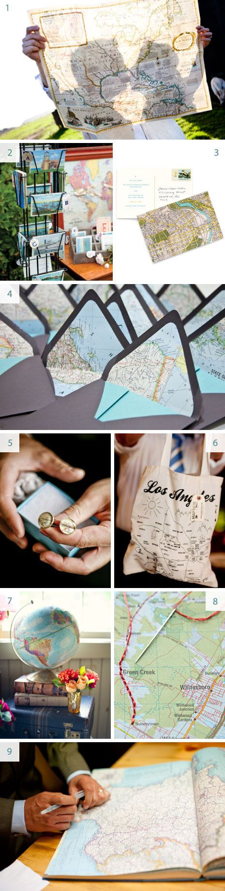 using maps as a wedding theme - perfect for a destination wedding or a couple that likes to travel
