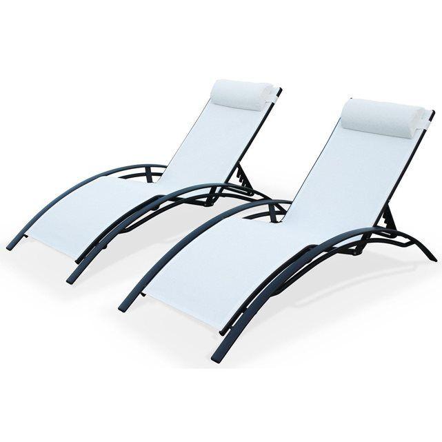 duo bains de soleil en aluminium et textilene lounge louisa transat anthracite alice s garden