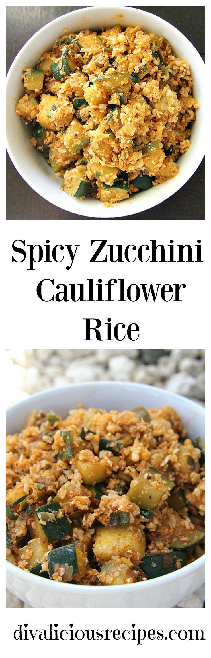 A spicy cauliflower rice dish that is great either as a side or a main. Recipe - http://divaliciousrecipes.com/2016/11/22/spicy-zucchini-cauliflower-rice/