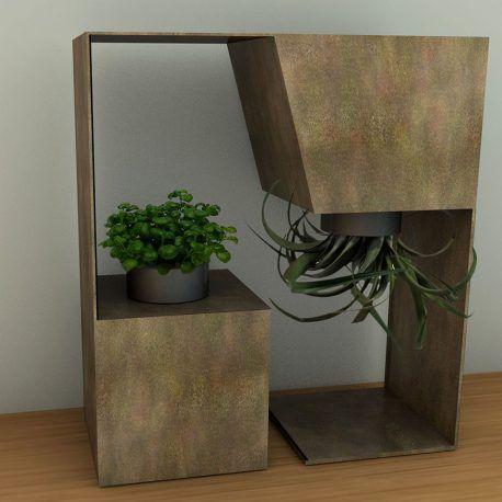 Esta maceta tiene su estructura en metal, las bases donde van las plantas están hechas en plástico, por su estructura en metal, esta hecha para durar, ser exclusiva y ornamentar los espacios. La propuesta de diseño se basa en la posibilidad de tener una planta colgante.