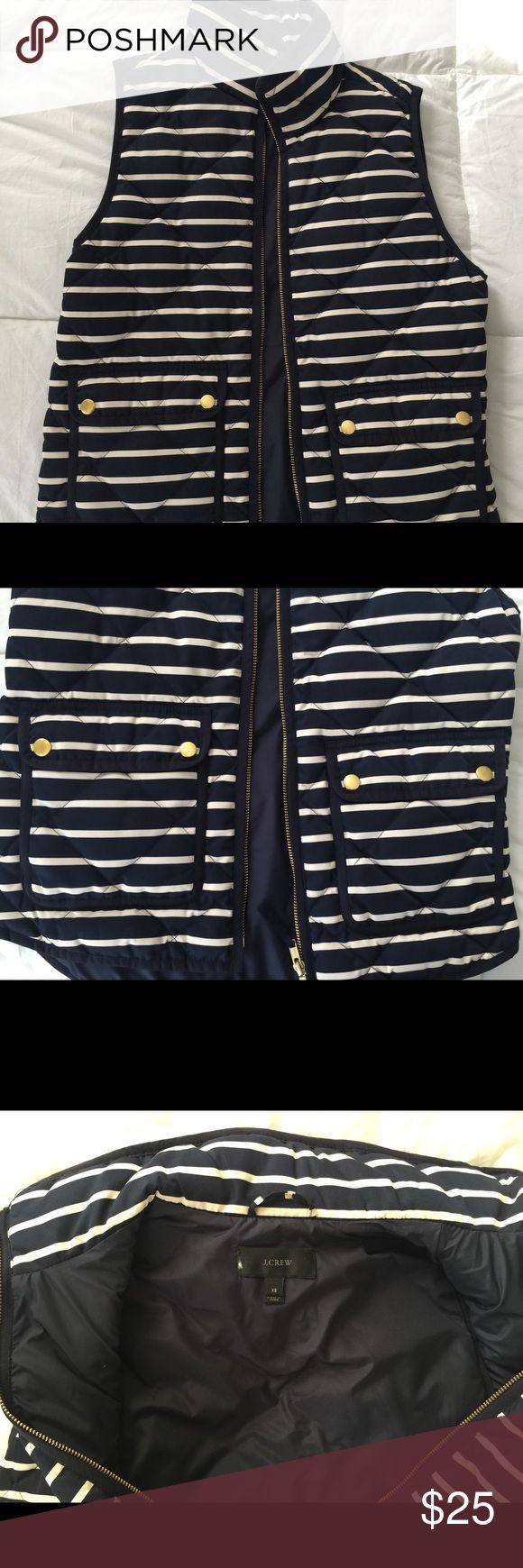 Navy sailor stripe vest J.Crew Bought outlet but never worn maybe once. In perfect condition size XS. Navy and white stripe no discoloration still as vibrant as day 1 J. Crew Jackets & Coats Vests