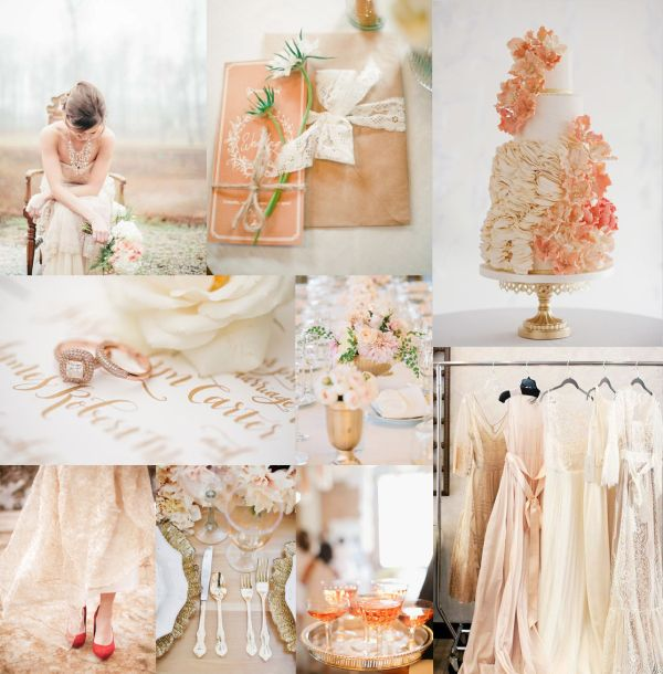 I am in love with Rose Gold Pale Coral Wedding Colors by Elizabeth Anne Designs. All of her colour palletes are enchanting
