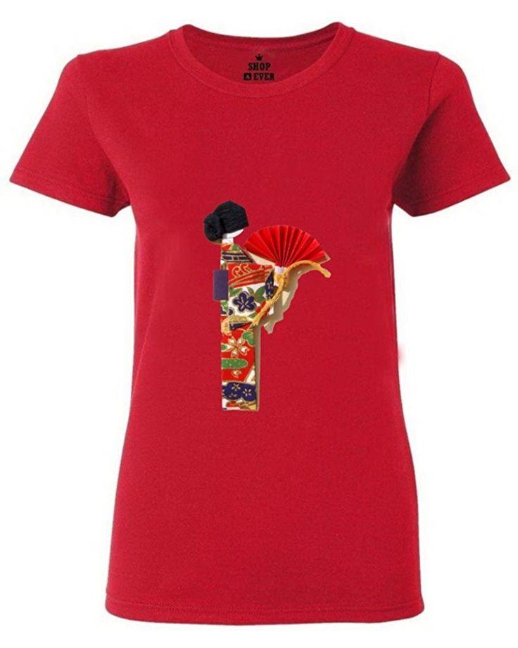 FeelingSmart Geisha Painting Funny Graphic Short Sleeve women T-shirt Size