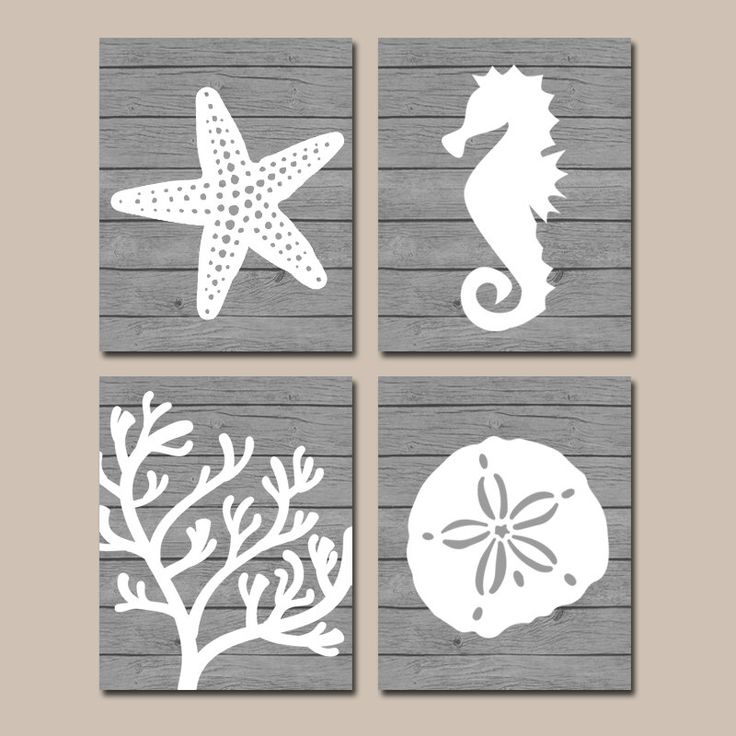 Beach BATHROOM Wall Art, CANVAS or Prints, Nautical Coastal Bathroom Decor, Aqua Starfish Seahorse, Coral Reef, Wood Plank Design, Set of 4 by TRMdesign on Etsy https://www.etsy.com/listing/188063897/beach-bathroom-wall-art-canvas-or-prints