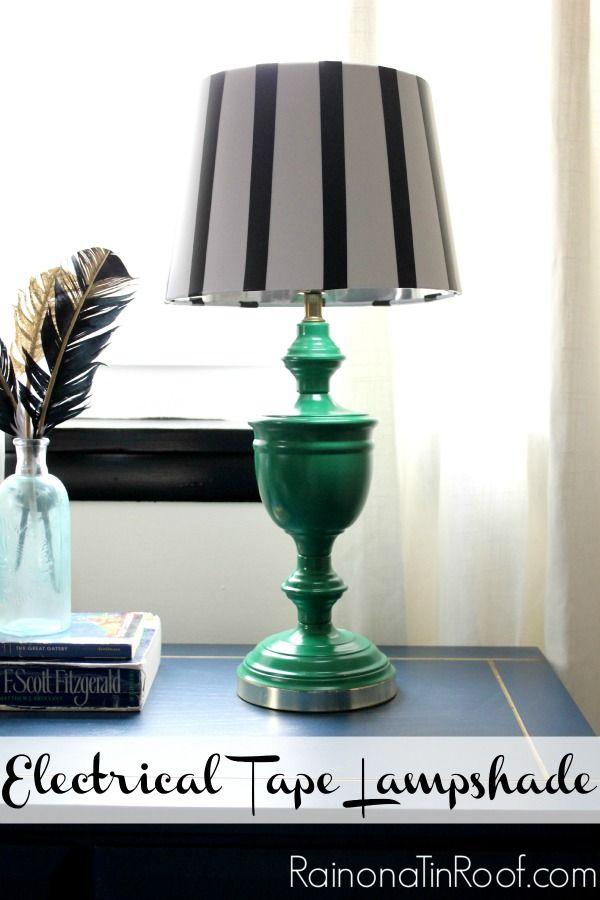 Electrical Tape Lampshade via RainonaTinRoof.com #electricaltape #lampshade…