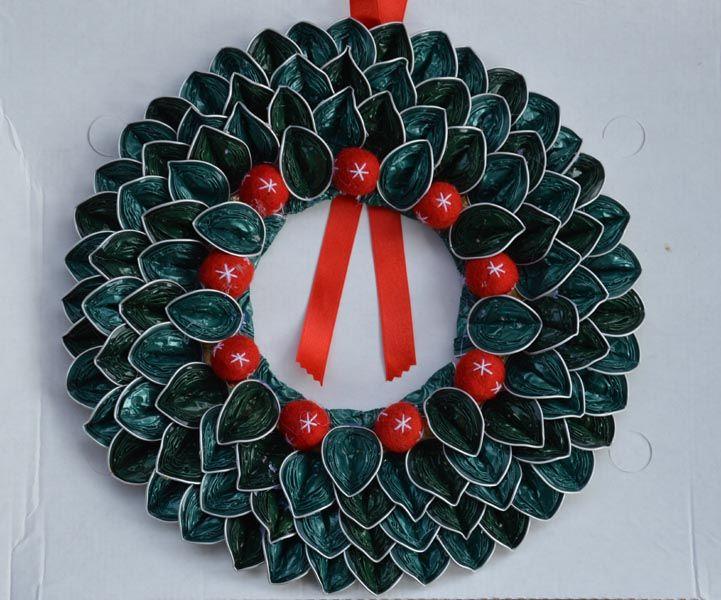 Corona de Navidad con cápsulas de Nespresso