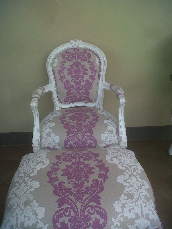 Louis XV Arm Chair and matching Ottoman. Stunning!