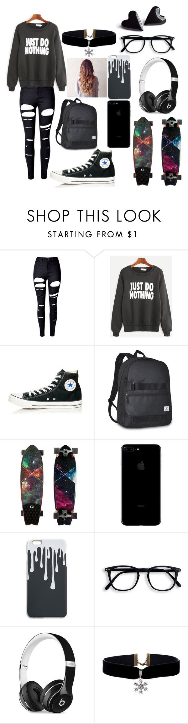 """Skater Girl Look"" by nadia-y03 ❤ liked on Polyvore featuring WithChic, Converse, Everest and Beats by Dr. Dre"