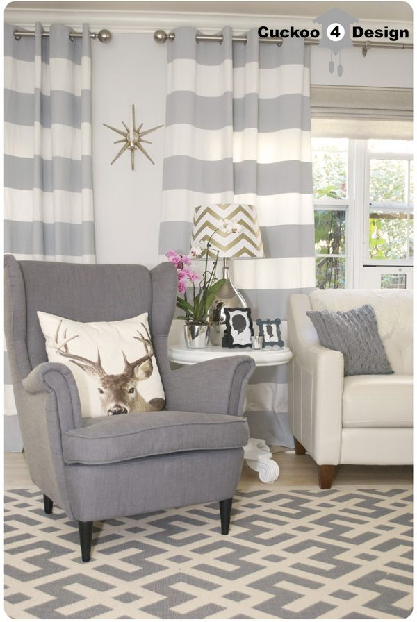 grey Ikea Strandmon Chair, Macy's Claudia Sofa, Overstock's Poolside Grey/Bone Indoor Outdoor Rug, DIY horizontal striped curtains