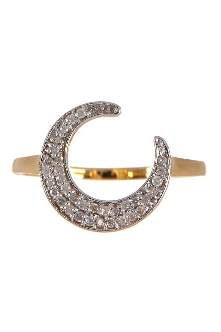 14K Yellow Gold & White Diamond Moon Ring - 0.17 ctw on @nordstrom_rack