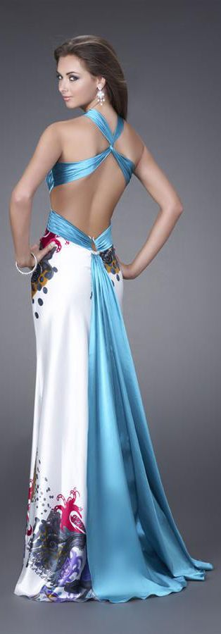 La Femme ~ Open Back Gown w Criss-cross Strap and Flowy Floral Skirt, Turquoise+White 2015