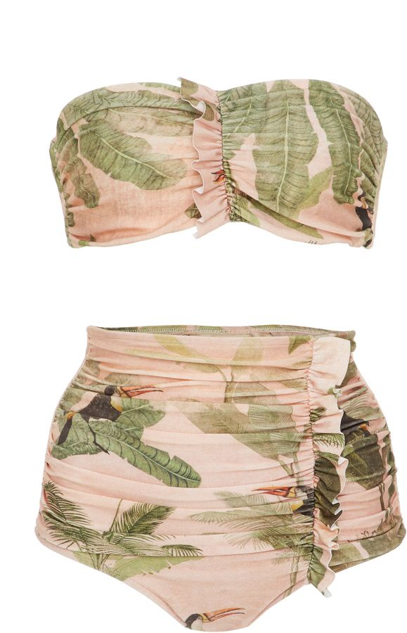 Adriana Degreas Toucan Strapless Ruffle Bikini