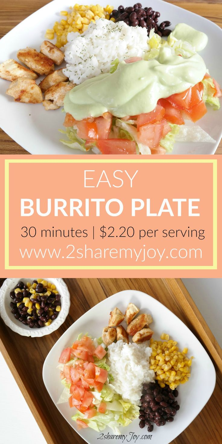 Easy Burrito Plate Recipe under 30 minutes and only $2.20 per serving. This is a healthy frugal dinner recipe and a great weight loss meal
