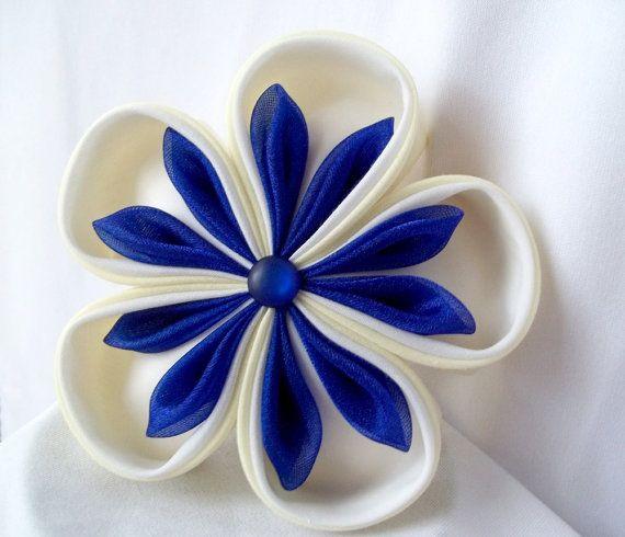 Kanzashi Headpiece Fabric Flower Fascinator by ScarlettandMaria, $32.00