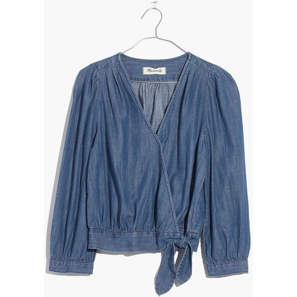 MADEWELL Denim Wrap Top ($78) ❤ liked on Polyvore featuring tops, descanso wash, cami top, wrap top, blue cami top, madewell tops and cami crop top