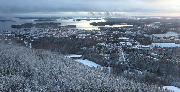 Christmas eve 2015 view from the Puijo tower in Kuopio, Finland.