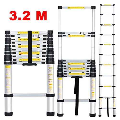 Finether Leiter Teleskopleiter 3.2M Aluleiter Anlegeleiter Mehrzweckleiter Alu max Belastbarkeit 150 kg