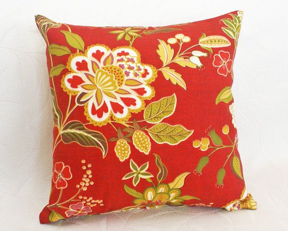 Floral Orange Red Patio Cushions 18x18 Outside Inside Pillows