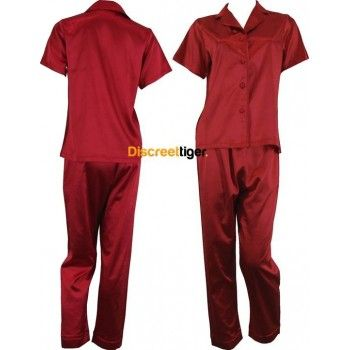 Red Satin Pyjamas Pj's. Soft and Luxurious set. Shirt is short sleeve, button up with collar and the pants are full length, long with drawstrings. Petite to Plus Size. Other colours available: Champagne Pink, White, Black and Light Pink. Worldwide shipping. Mix and match, make it fun.