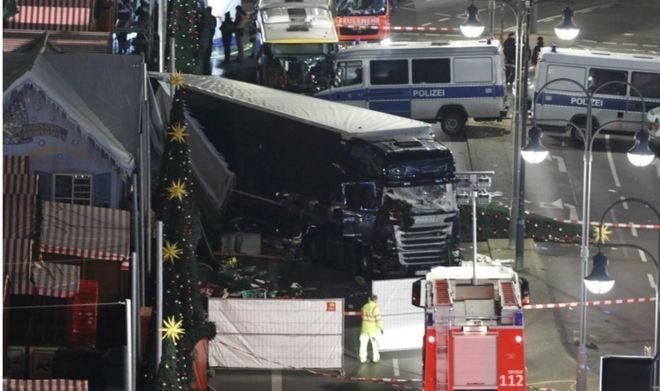 A general view shows the site where a truck ploughed through a crowd at a Christmas market on Breitscheidplatz square near the fashionable Kurfuerstendamm avenue in the west of Berlin, Germany, December 19, 2016