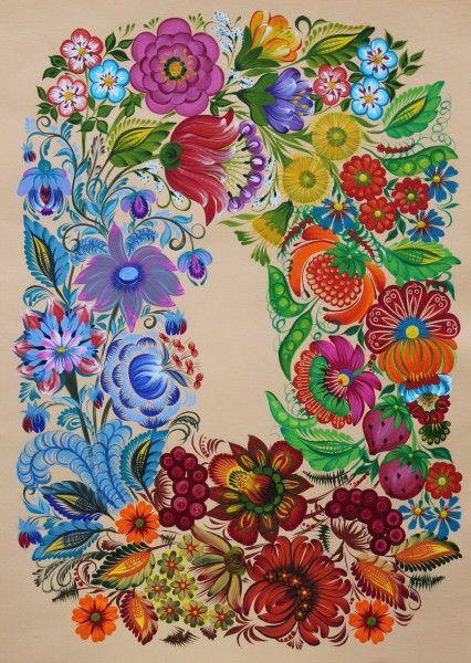 Танец времён года. С.Кошель. Петриковская роспись. Создание иллюстраций для календаря на 2015 год.