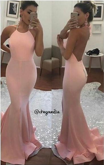 Mermaid Evening Dress,Sexy Open Back Prom Dress,Halter Neckline Open Back Blush Pink Party Dress