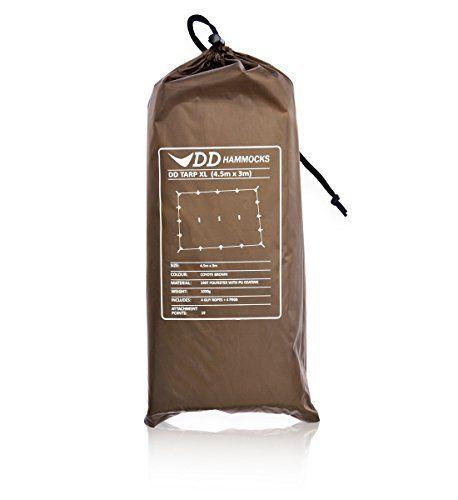 DD Hammocks Bâche légère XL 3 x 4,5 m: bâche légère et spacieuse Taille: 3 x 4,5 m Poids: 1020g (non compris les chevilles) Couleur: Vert…