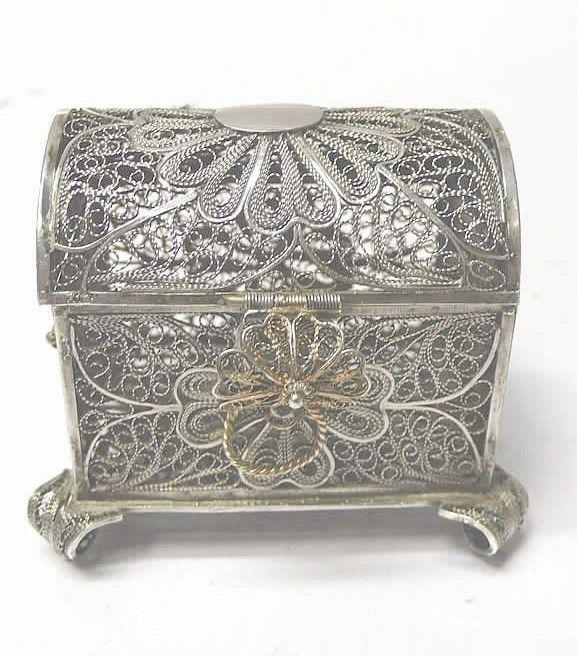 Античный Серебряная филигрань Box - waxantiques