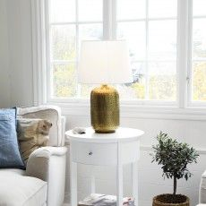 Timeless copper table lamp with a white canvas shade // Indra - Sessak