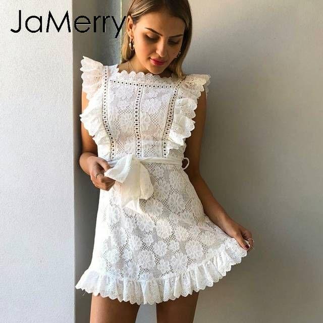723845cf8ab8a Online Shop JaMerry Boho embroidery white lace women mini dress ...