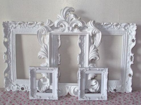 Romantic Cottage Picture Frames 5 Piece Ornate Hollywood Regency Shabby Paris Chic White Open Picture Frames Set in YOUR Color Choice