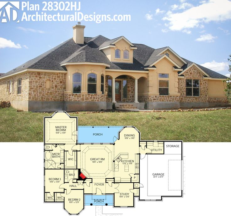 Plan 28302hj 3 bed hill country home plan house plans for Hill country home plans