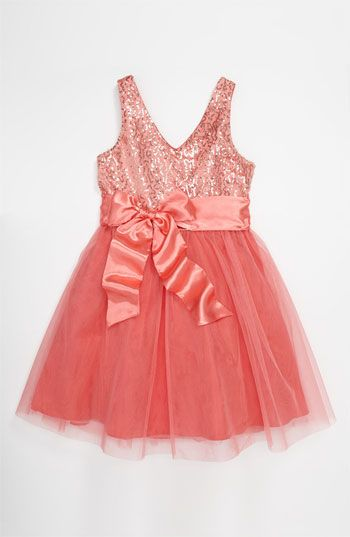 Robe enfant d'honneur. Un Deux Trois Sequin Tulle Dress (Big Girls) available at #Nordstrom