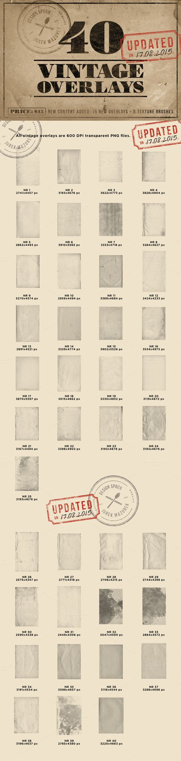 40 Vintage Overlays by Design Spoon on Creative Market