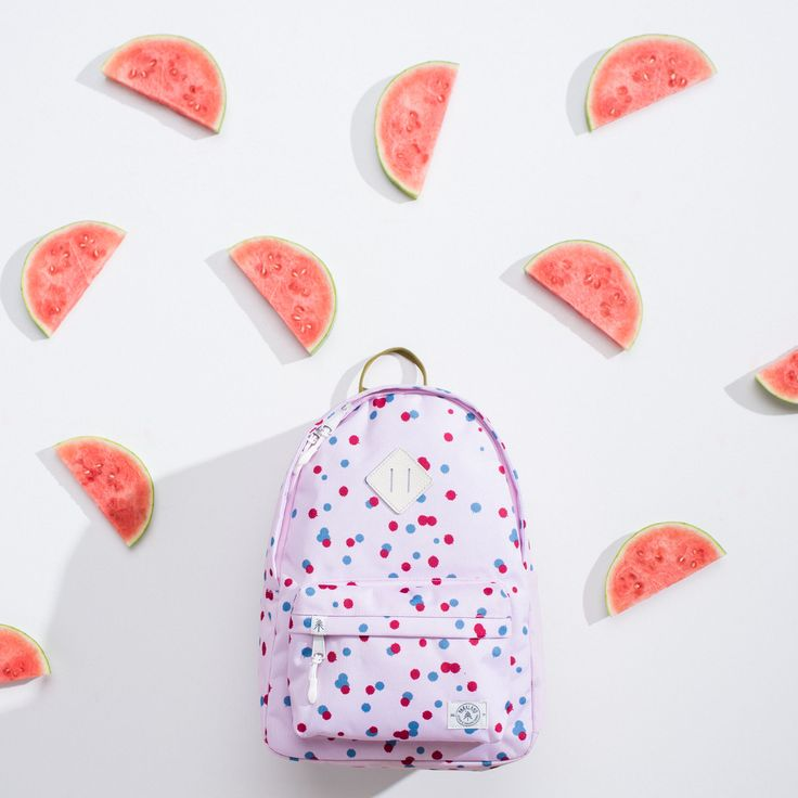 You're one in a melon.  Parkland Kids Bayside Backpack in Pink Polka Drops from the Fall 2016 Collection. Designed for the pint-sized adventurer, the Bayside features a power-mesh water bottle holder and an interior divider to keep everything organized.