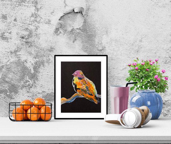 Bird N11 on a dark background. Oil Painting. by GausCraftStudio